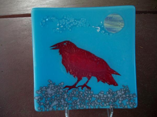 Raven Fused Glass Plate