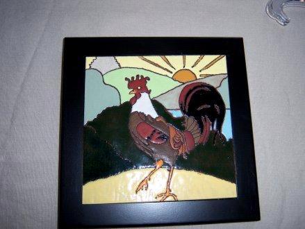 Rooster -framed handmade tile