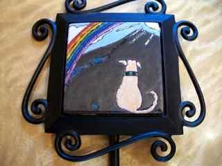 Rainbow Bridge Dog- handmade tile on garden stake