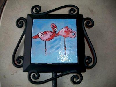 Flamingos - handmade tile on garden stake