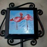 Flamingos - handmade tile on garden stake