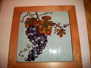 Grapes - Handmade Tile Framed