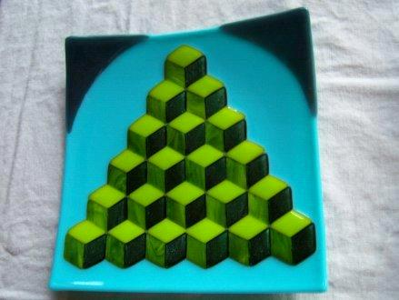 Very Green Pyramid - fused glass plate