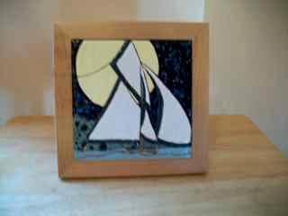 Sailboat - framed handmade tile